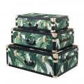 3 portbagaje de design din MDF și țesătură cu detalii efect piele neagră - Amazonia
