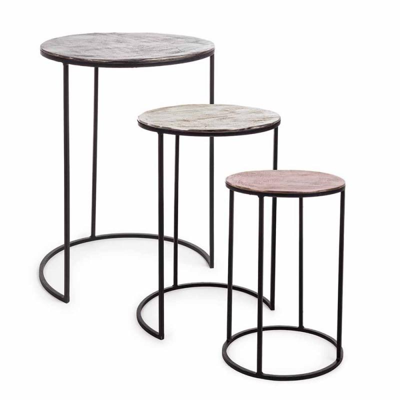 3 Mese de cafea rotunde din aluminiu și oțel Homemotion - Sempronio