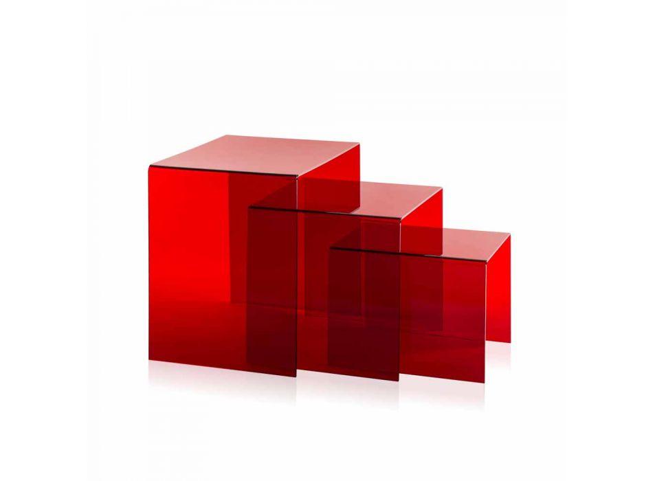 3 mese stivuibile roșu Amalia, design modern, realizate în Italia