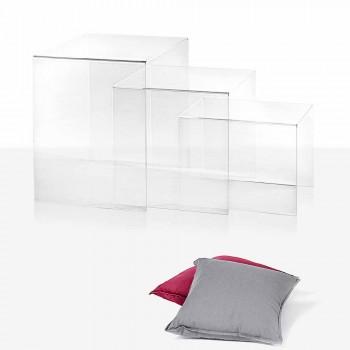 3 mese transparente care pot fi stivuite de design Amalia, realizate în Italia