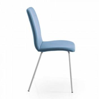 4 scaune de bucătărie sau de sufragerie în piele ecologică colorată și design metalic - Hermione