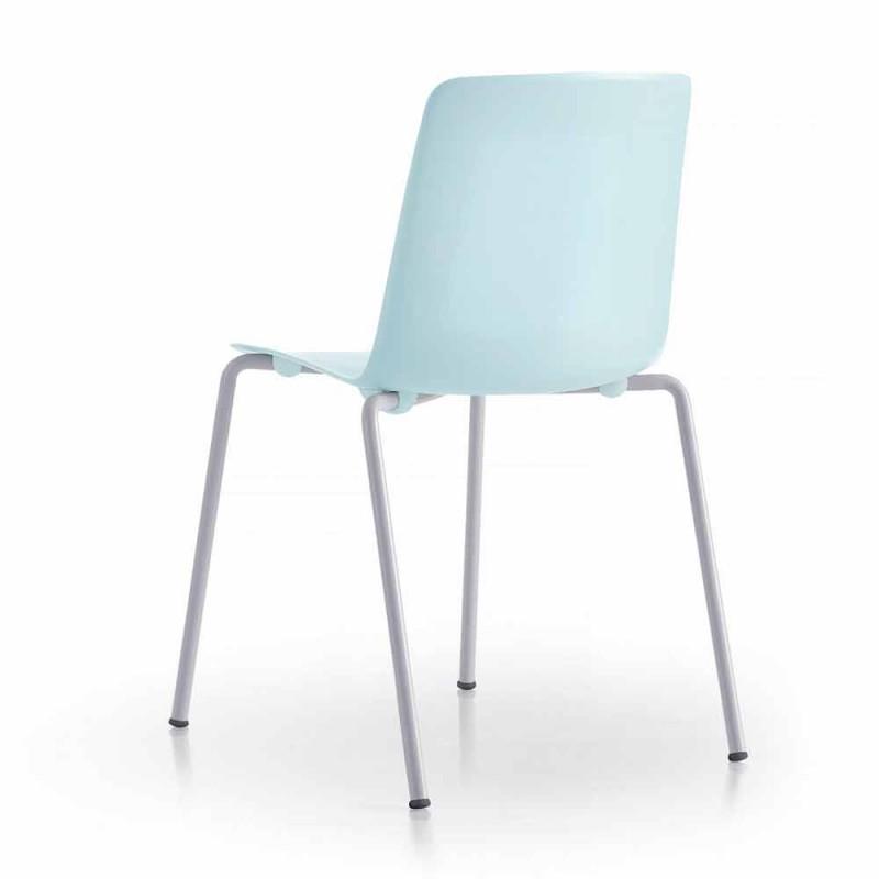 4 scaune în aer liber stivuibile din metal și polipropilenă Made in Italy - Carita