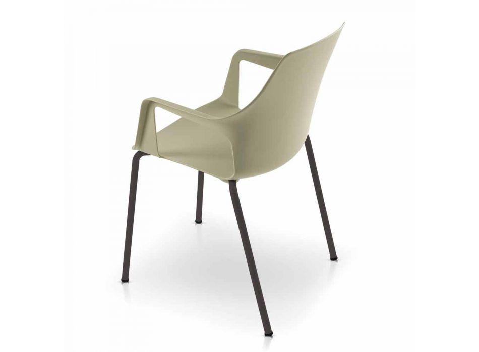 4 scaune în aer liber în polipropilenă și metal fabricate în Italia - Carlene