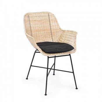 4 scaune de exterior în răchită țesută și oțel Homemotion - Berecca