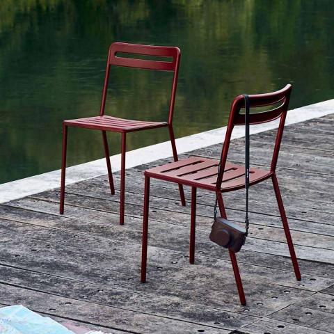 4 scaune în aer liber din metal, stivuibile, realizate în Italia - Yolonda