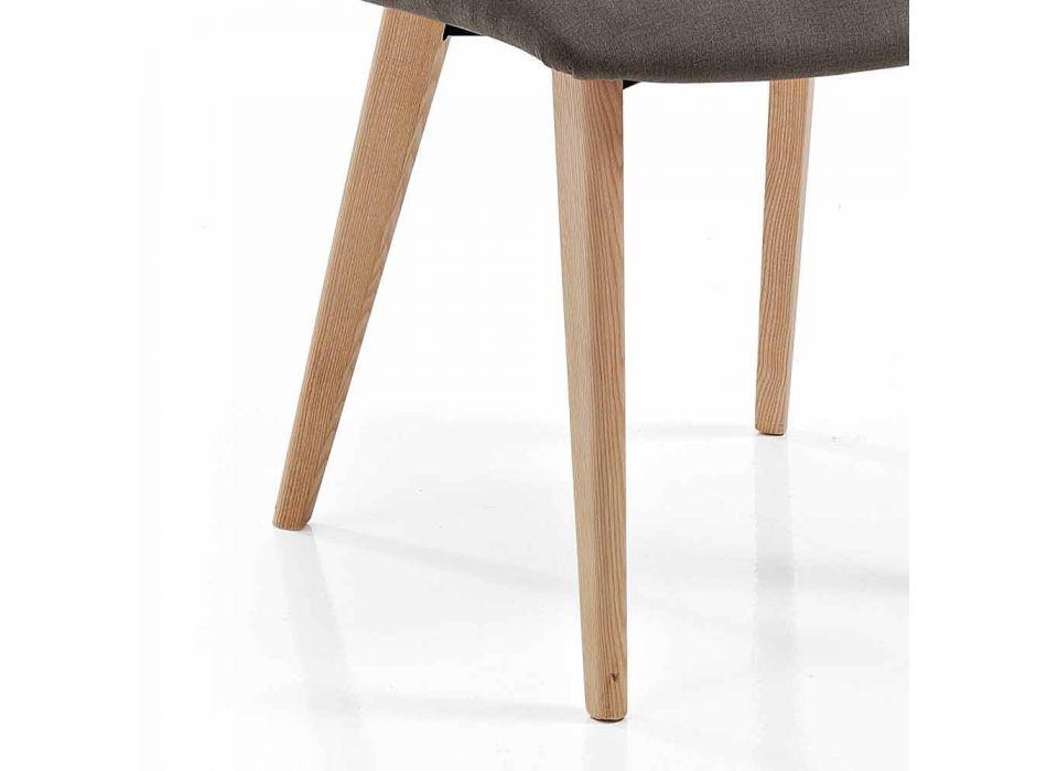4 scaune de sufragerie tapițate în design de picioare din țesătură și frasin - Florinda