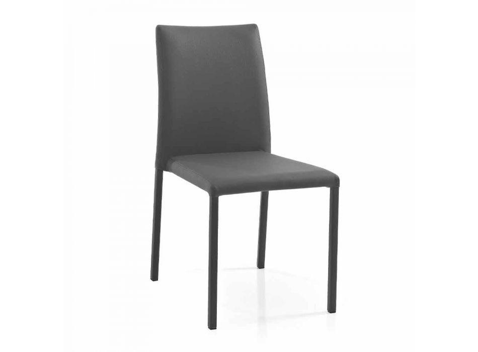 4 scaune elegante de design modern în piele ecologică colorată pentru sufragerie - Grenger