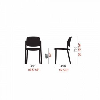 4 scaune moderne în aer liber, stivuibile din polipropilenă Made in Italy - Bernetta