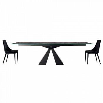 4 scaune moderne din oțel cu scaun tapițat din catifea fabricat în Italia - Nirvana