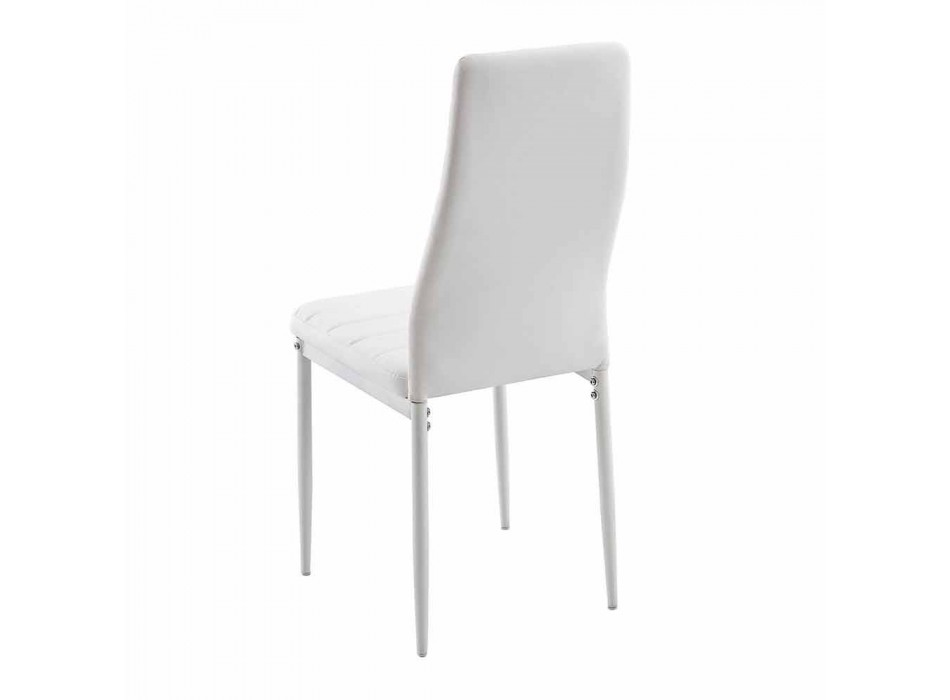 4 scaune moderne de sufragerie din imitație de piele și picioare metalice - Spiga
