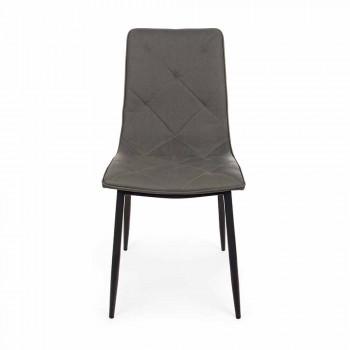 4 scaune moderne acoperite în piele cu bază din oțel Homemotion - Daisa