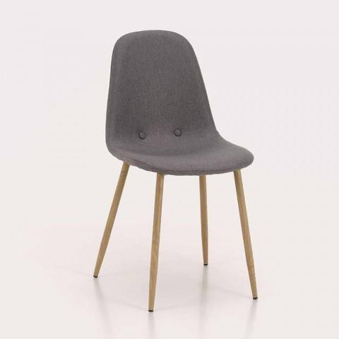 4 scaune de sufragerie cu scaun din țesătură și structură metalică - Pampa