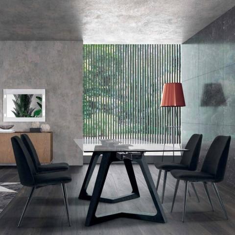 4 scaune tapițate pentru sufragerie Tapițate în catifea Made in Italy - Cereale