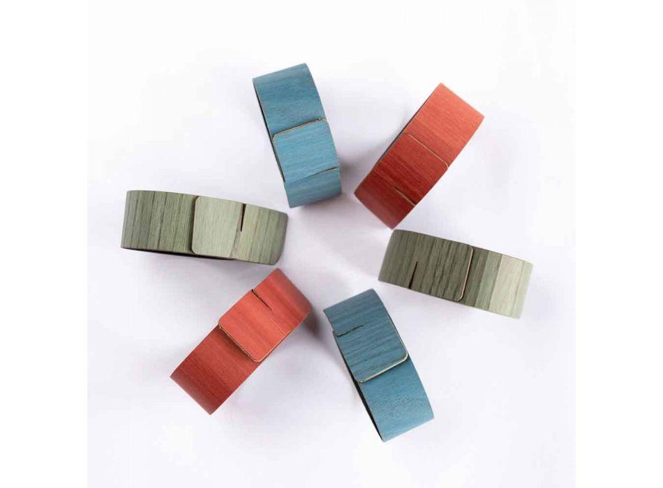6 inele de șervețel de design în culori asortate Made in Italy - Oală