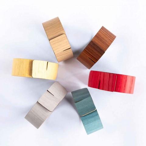 6 inele de șervețel din lemn și țesături moderne fabricate în Italia - ghiveci