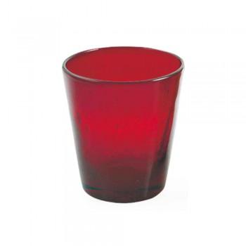 6 pahare Serviciu artizanal de apă din sticlă suflată colorată - Yucatan