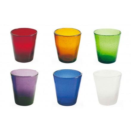 12 pahare Serviciu artizanal de apă din sticlă suflată colorată - Yucatan