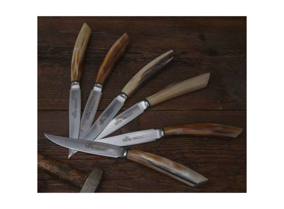 6 cuțite de bucătărie artizanale cu mâner din corn de bou Fabricate în Italia - Marine