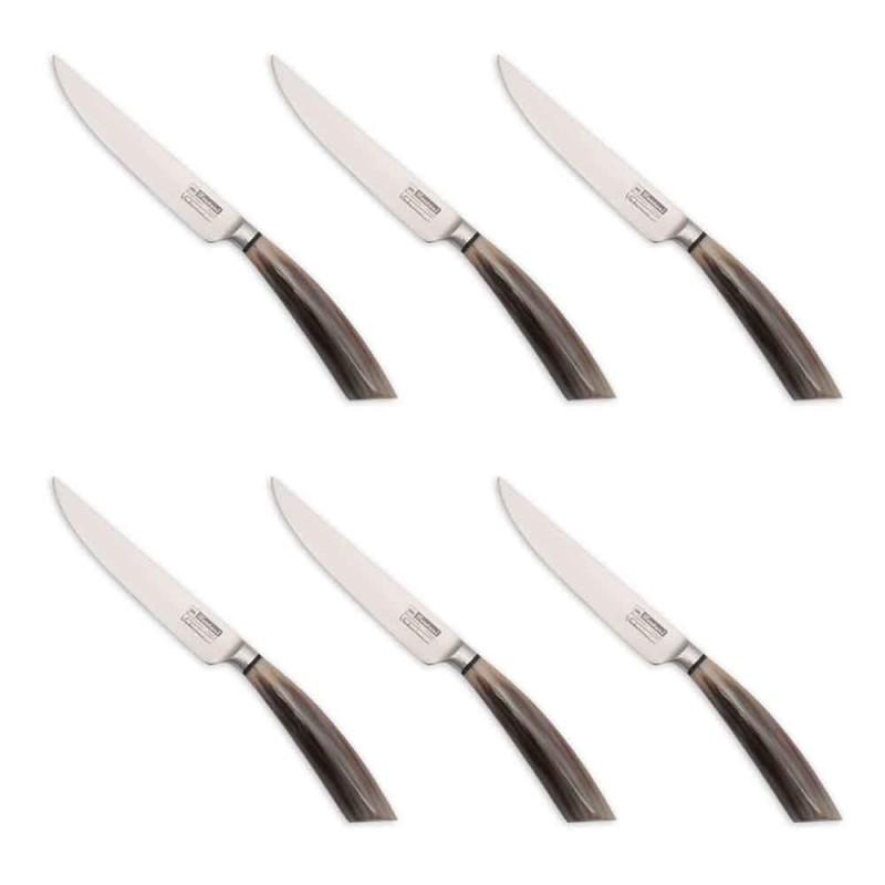 6 cuțite pentru friptură fabricate manual din corn sau lemn fabricate în Italia - Zuzana