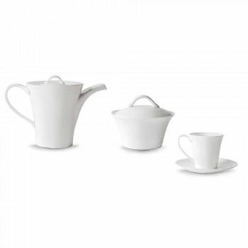 6 căni de cafea din porțelan cu farfurie, oală de cafea și bol de zahăr - Romilda
