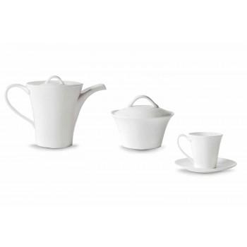 6 căni de cafea din porțelan cu farfurie, oală de cafea și zahăr - Romilda