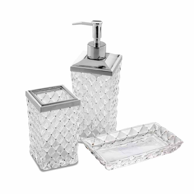 Accesorii pentru baie de sine stătătoare în cristal și metal Capitonnè - argint