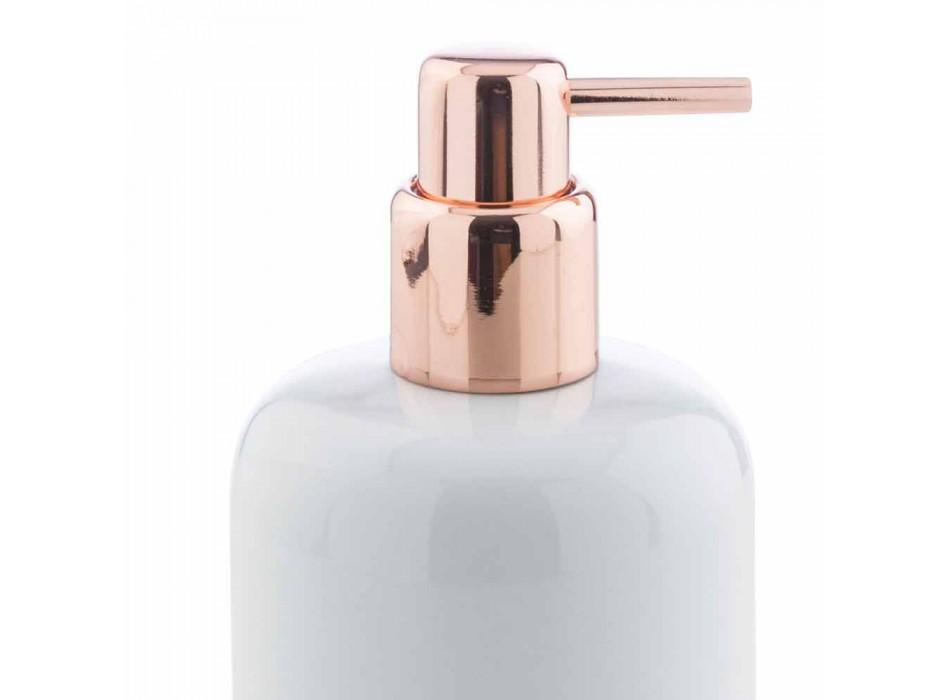 Accesorii de baie în porțelan alb cu detalii din cupru - Scampia