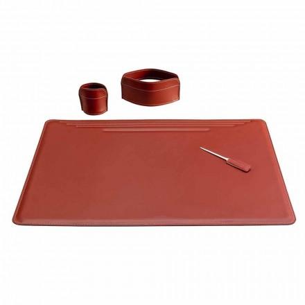 Accesorii pentru birou din piele, 4 bucăți, fabricate în Italia - Ebe