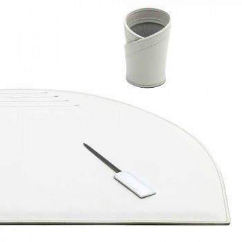 Accesorii de birou din piele regenerată 4 bucăți fabricate în Italia - Medea