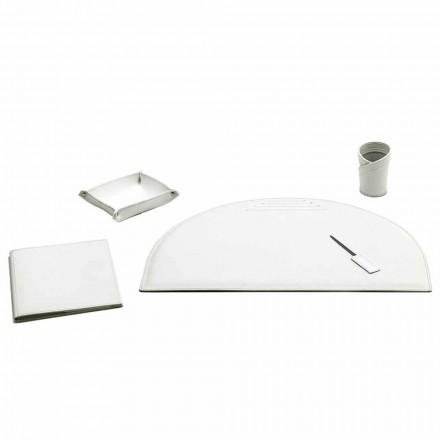 Set de 5 accesorii pentru birou din piele, fabricate în Italia - Medea
