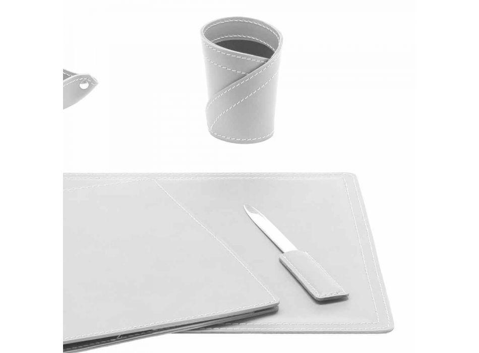 Accesorii Birou cu piele regenerată din 5 piese Made in Italy - Ascanio