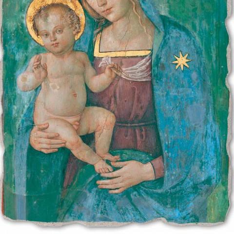 """Marele Pinturicchio Fresco """"Maica Domnului cu Pruncul"""" Artizanală"""