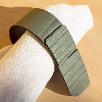 Șervețel inel din lemn și țesătură Fabricat în Italia - Abraham