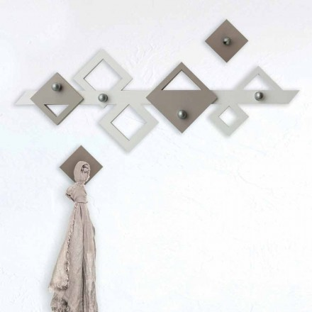 Cuier de perete din lemn alb și bej, design geometric modern - Klimt