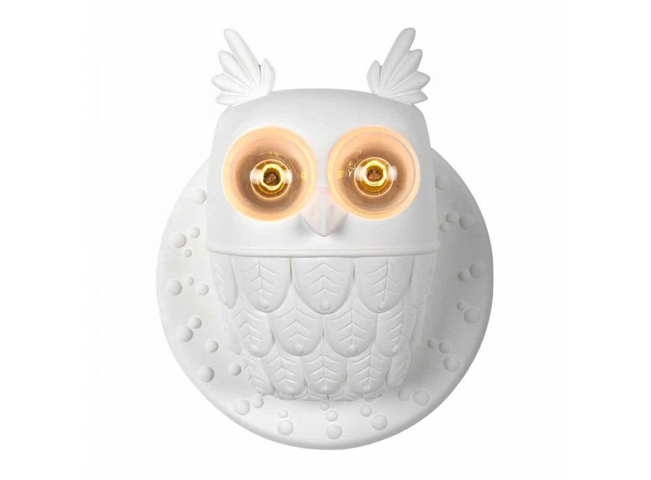Aplica de perete 2 lumini în ceramică alb mat Design modern Owl - Owl