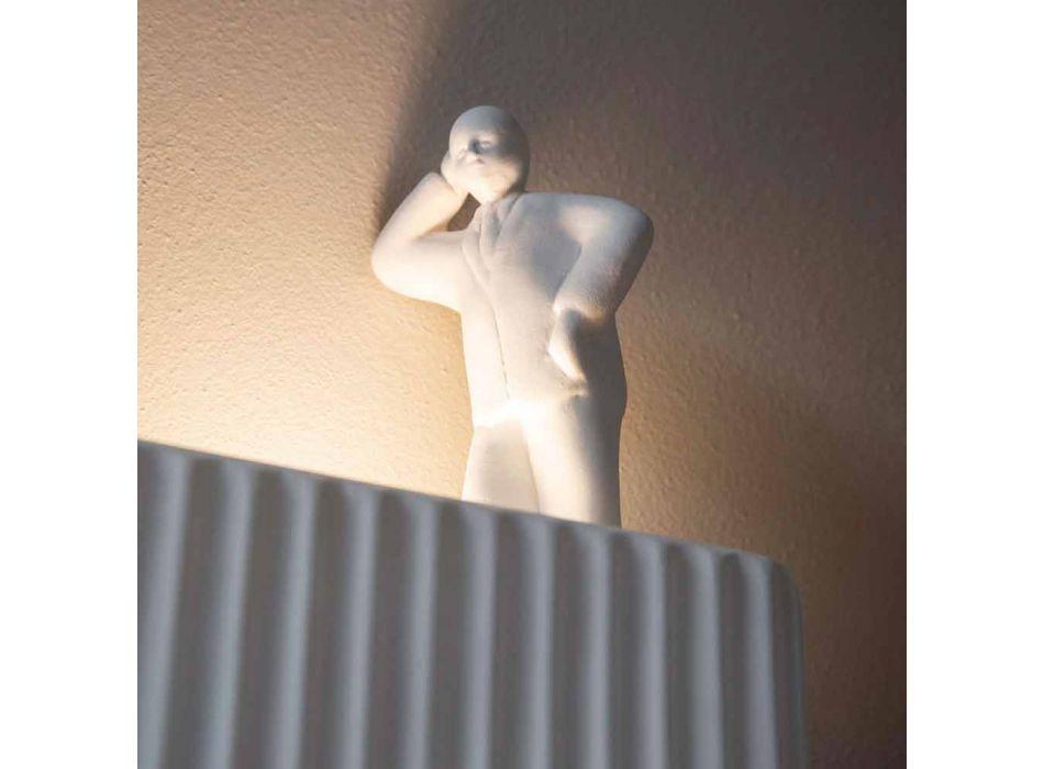 Aplica de perete cu 3 lumini Led în ceramică alb mat cu Umarell - Ometto
