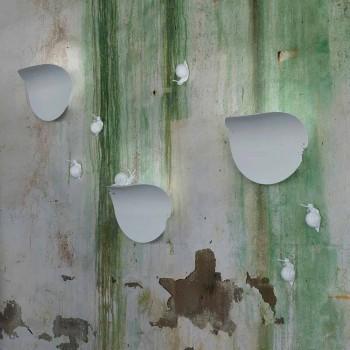 Aplica de perete cu frunze de design în ceramică albă și melc - decorare melc