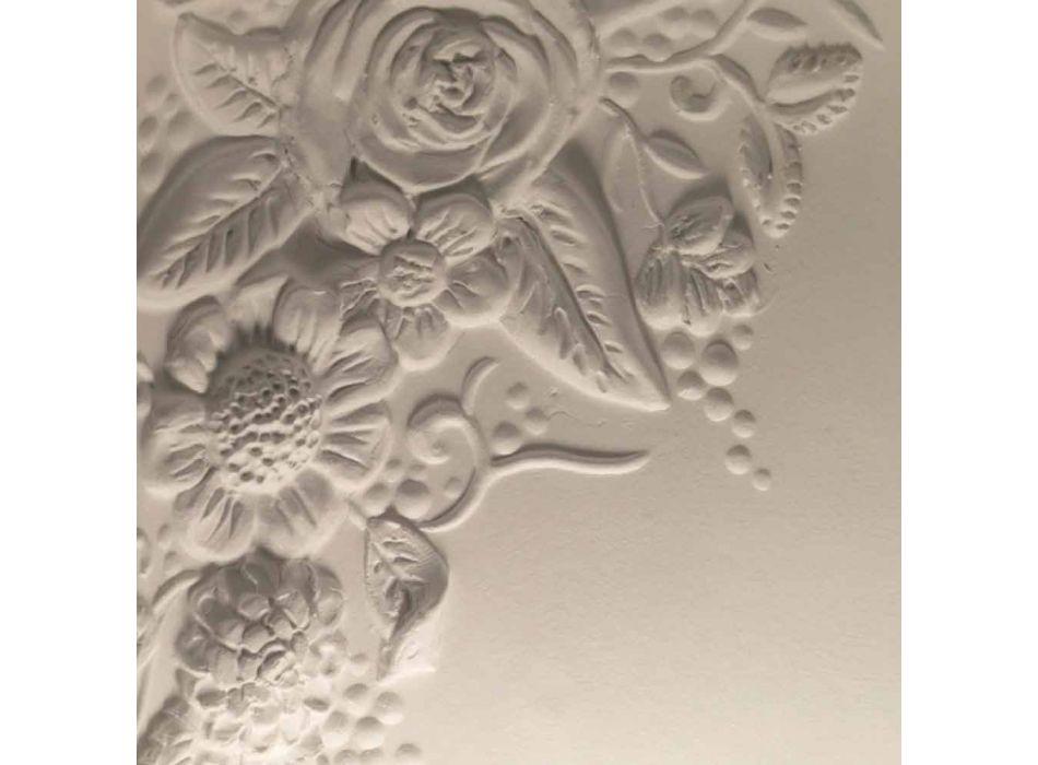 Aplica de perete în design ceramic alb mat cu flori decorative - Fluxo