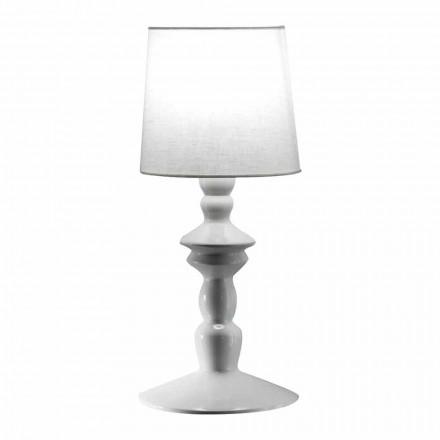 Lampă de perete din ceramică vopsibilă și abajur din in alb - Cadabra