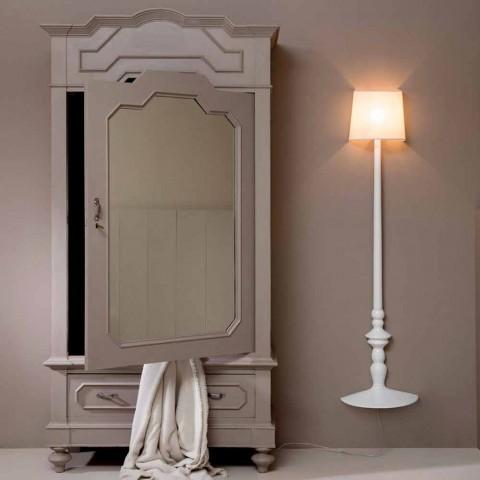 Aplica de perete înalt în ceramică albă și abajur în design de in - Cadabra