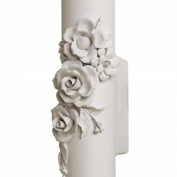 Aplica de perete din ceramică albă mată cu flori decorative - Revoluție