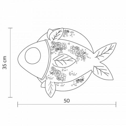 Aplica de perete în design ceramic alb mat cu pește decorat - pește