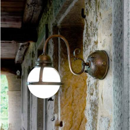 tivi de perete alamă antic și sticlă suflată alb