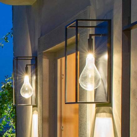 Lampă de perete pentru exterior, cu lumină caldă cu LED și sticlă, fabricată în Italia - Falda