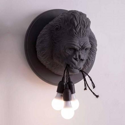 Lampă de perete cu 3 lumini în design Gorilla Ceramic Gri sau Alb - Rillago