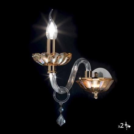 lumina de perete de design clasic de cristal și sticlă fină, 2 bucăți