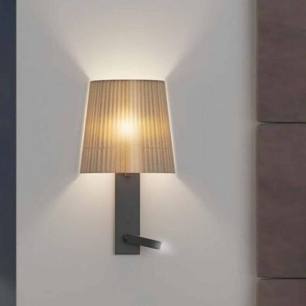 Lampă de perete de design cu structură din metal negru și organza Made in Italy - Boom