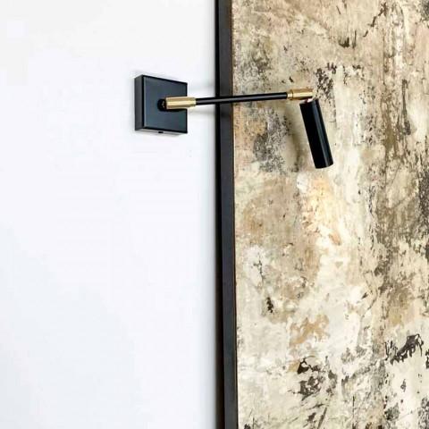 Aplica manuală din fier și aluminiu negru mat Fabricat în Italia - Velina