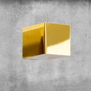 Lampa de perete din alamă și ghips făcută în Italia - Cubetto Aldo Bernardi