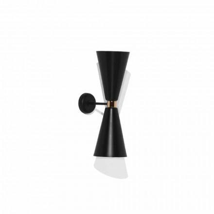 Lampă de perete modernă cu structură din metal negru mat Made in Italy - Zaira